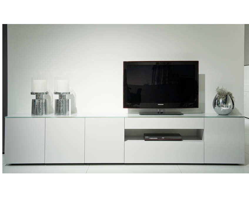 Tv Meubel Mat Glas.Modern Tv Dressoir Wit Glas Karat Tv Meubels