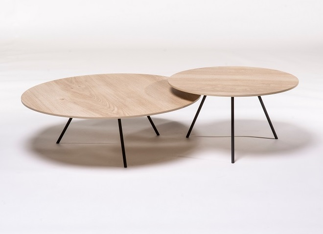 Metaform DP salontafel keramiek rond wood