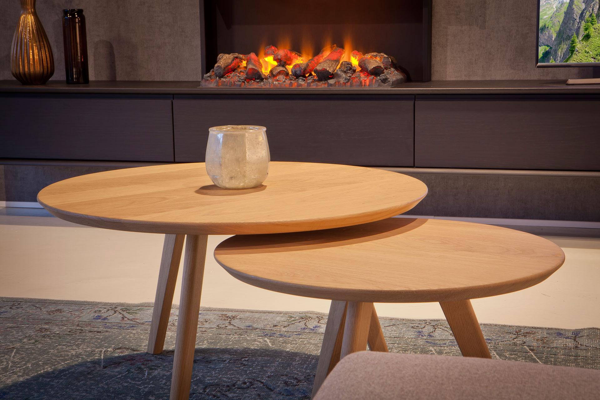 BKS ronde houten salontafels