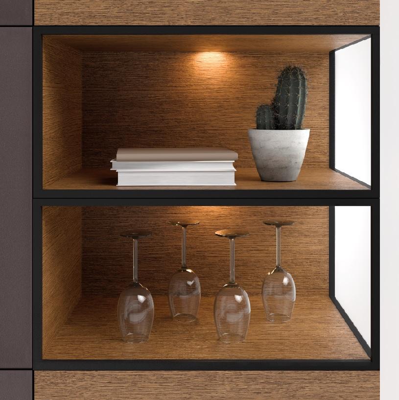 Saunaco vitrinekast detail